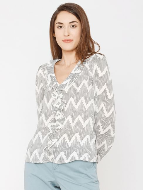 White All Over Print Ruffle Top
