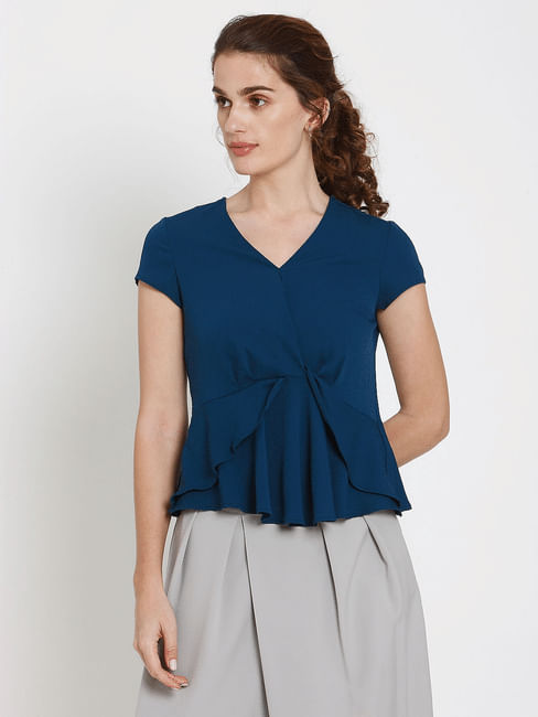 Blue Ruffle Layered Top