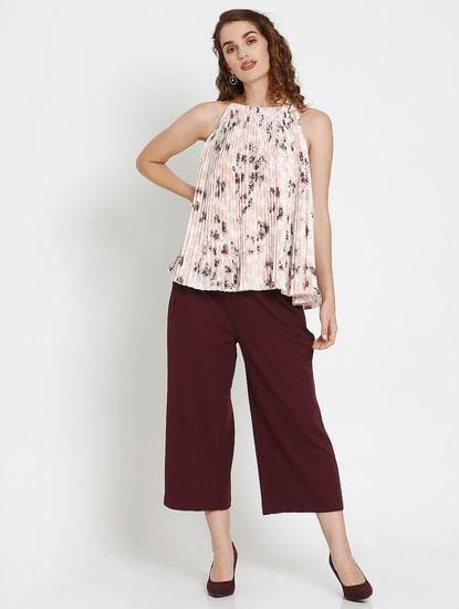 Pink Floral Print Pleated Top