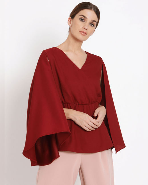 Red Cape Sleeves Top