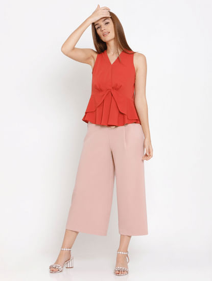 Red Flounce Top