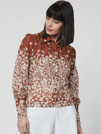 Brown Floral Print Shirt