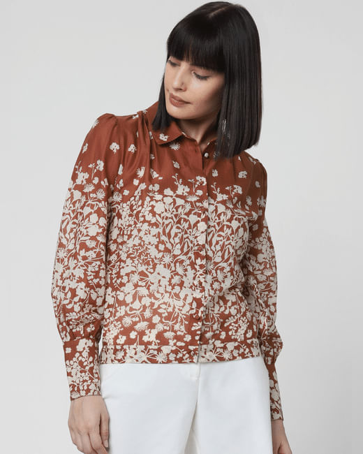 Brown Floral Print Shirt