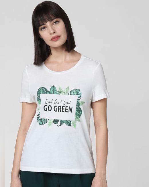 Go Green' Text Print T-Shirt