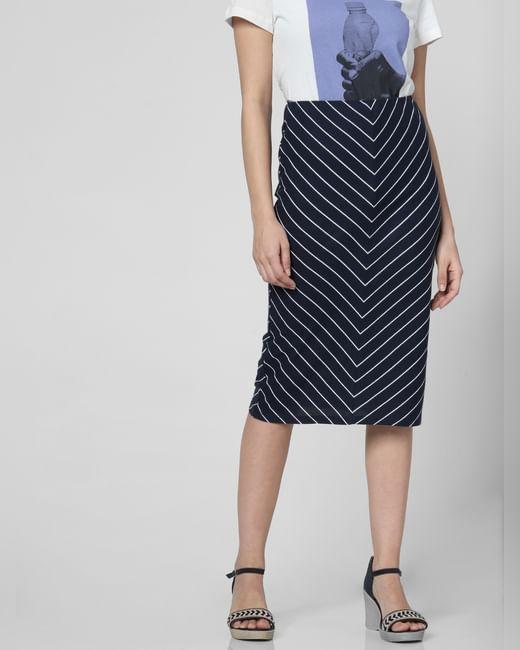 Dark Blue Striped Midi Skirt