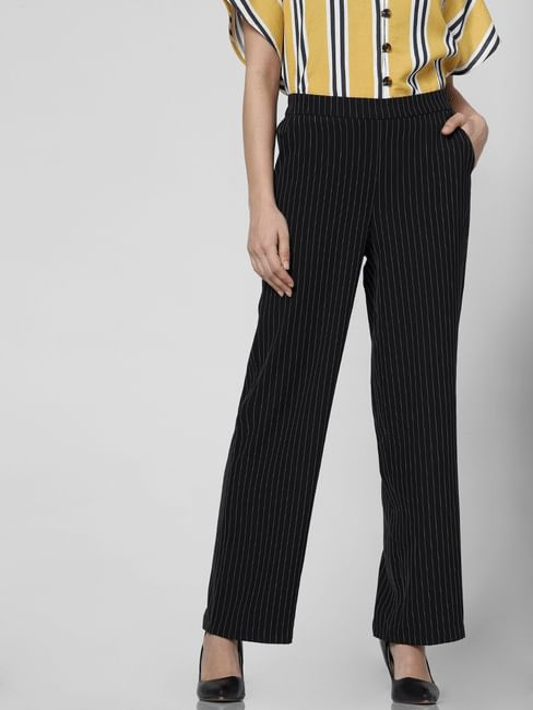 Black High Waist Printed Pants