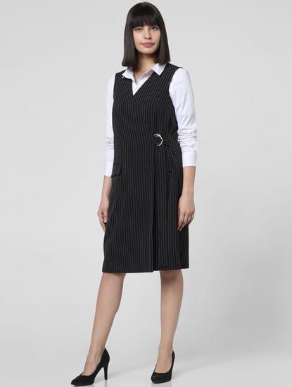 Black Striped Shift Wrap Dress