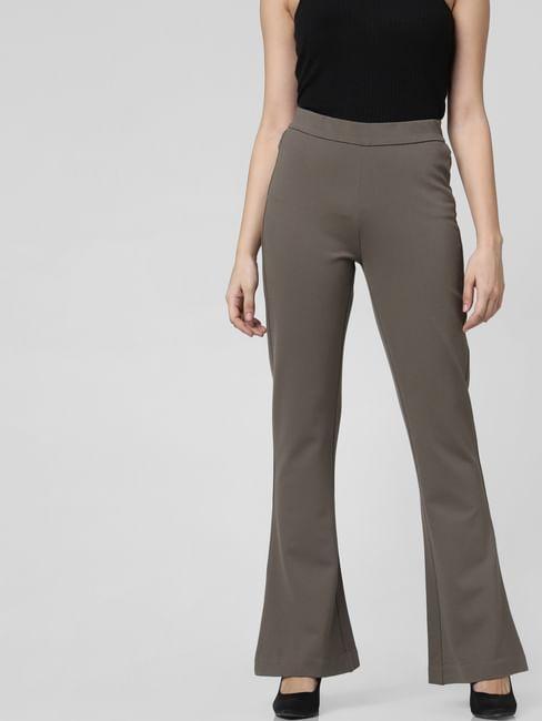 Grey High Waist Flared Pants