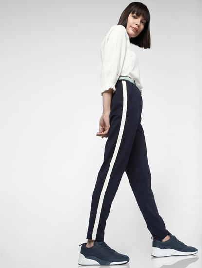 Dark Blue Tape Detail High Waist Pants