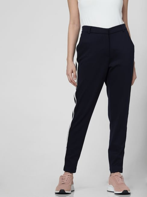 Dark Blue Tape Detail High Waist Pants