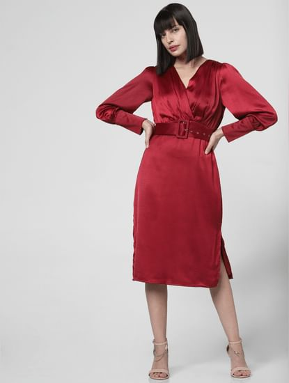Red Puffed Sleeves Shift Dress