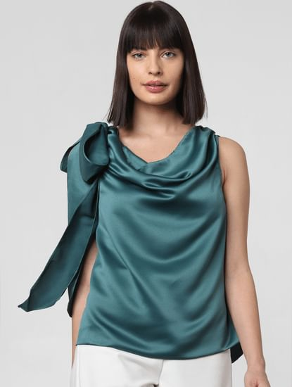 Teal Cowl Neck Top