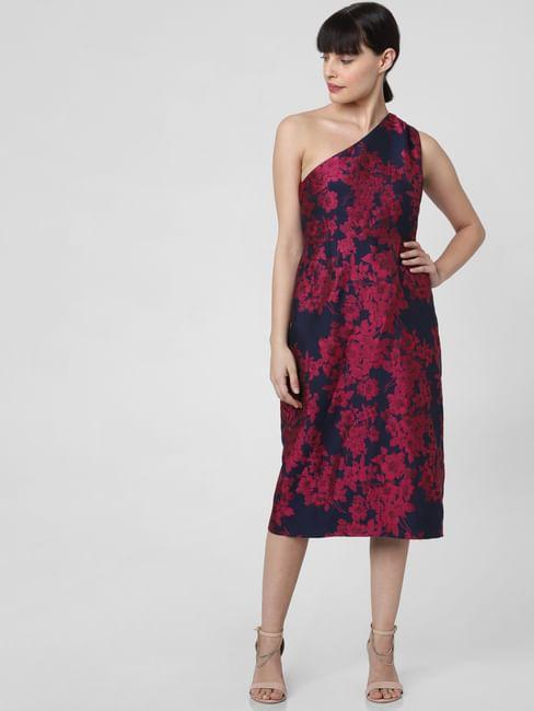 Dark Blue Floral Print Midi Dress