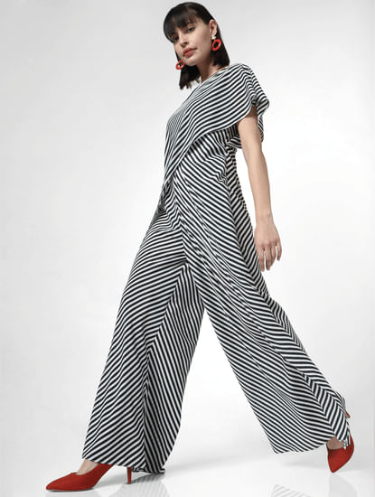 White Striped Draped Jumpsuit