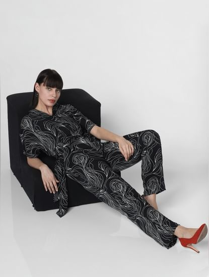 Black Printed Jumpsuit