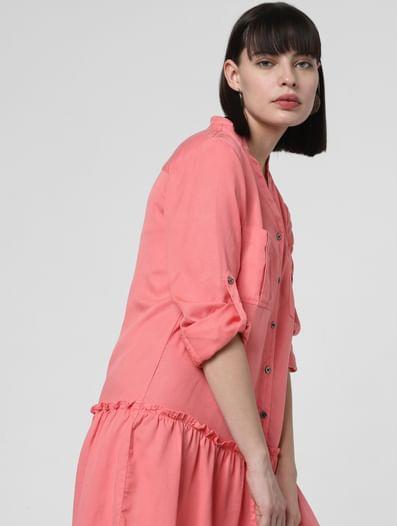 Peach Drop Waist Shirt Dress