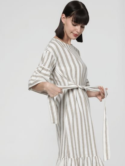 Beige Striped Flared Sleeves Shift Dress