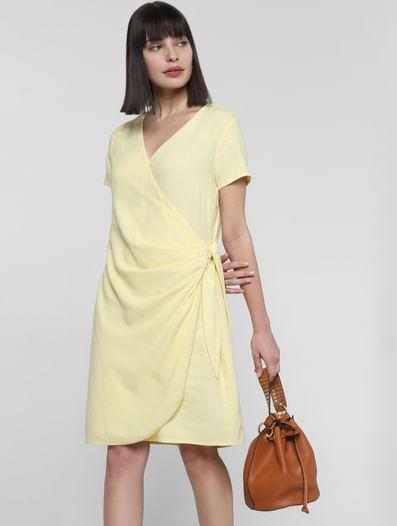 Lemon Yellow Knot Shift Dress
