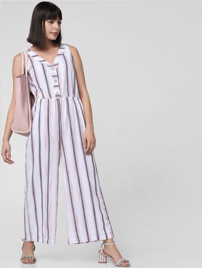 White Striped Culotte Jumpsuit