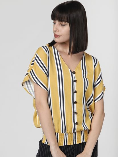 Yellow Striped Smocked Top