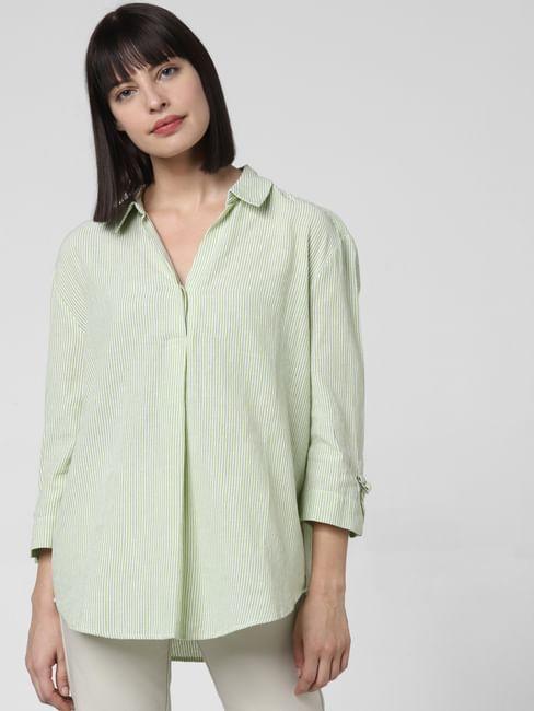 Light Green Striped Top