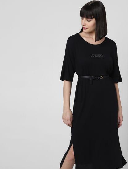 Black Text Print Midi Dress