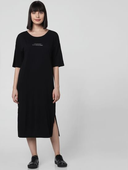 Black Text Print Midi Dress