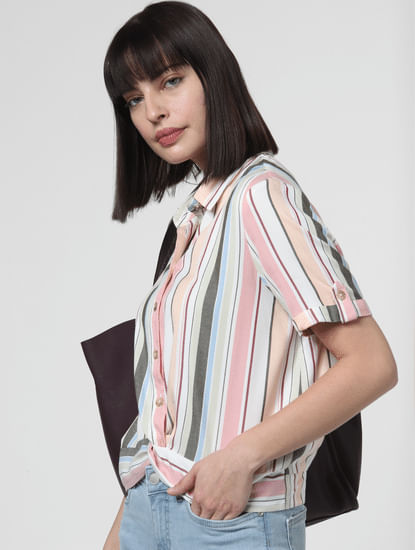 White Multicoloured Striped Knot Shirt