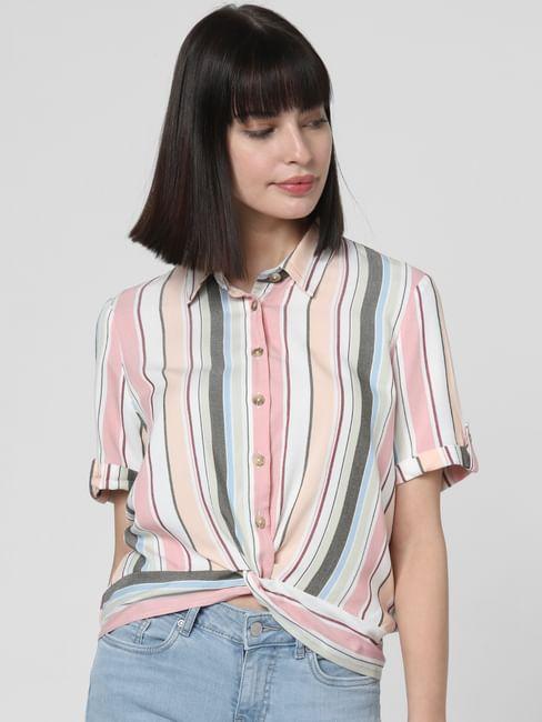 White Multicoloured Striped Knot Shirt
