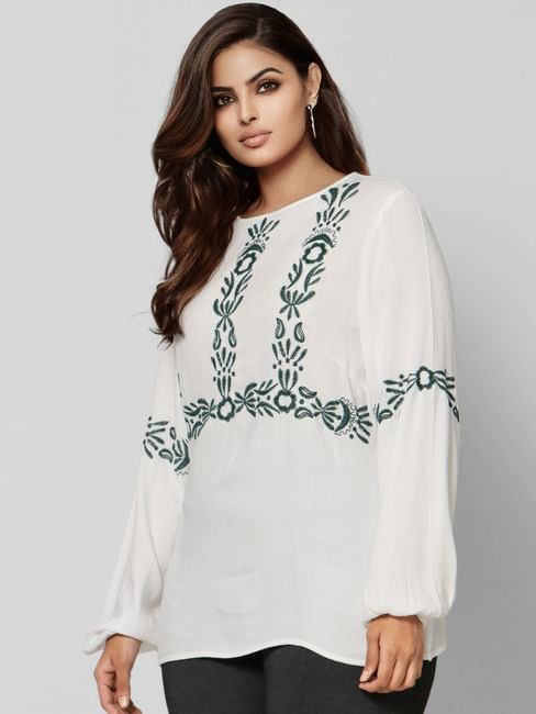 White Emboroidered Top
