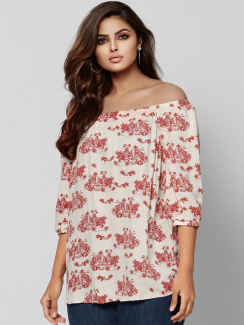 Off White All Over Print Off Shoulder Top