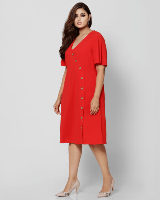 Red Button Down Fit & Flare Dress
