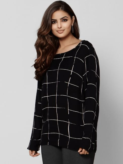 Black Check Top