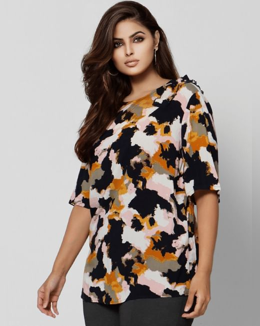 Multi-Coloured Abstract Print Top