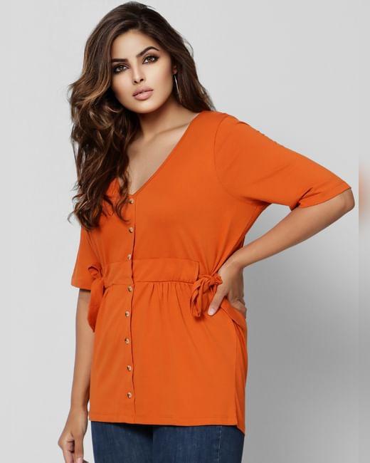 Orange Knot Top