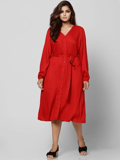 Red Tie Up Midi Dress