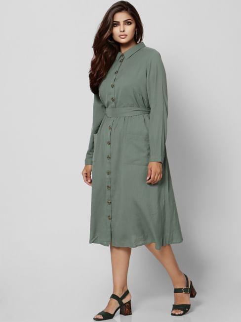 Green Tie Up Midi Dress