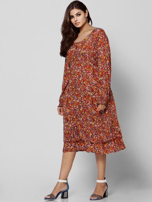 Red All Over Floral Print Midi Dress