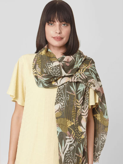 Green Tropical Print Scarf