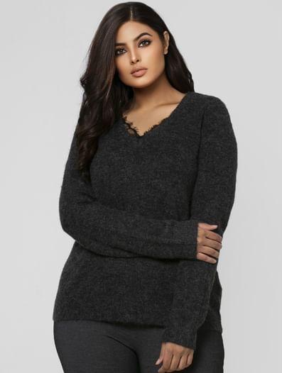 Dark Grey Lace Detail Sweater