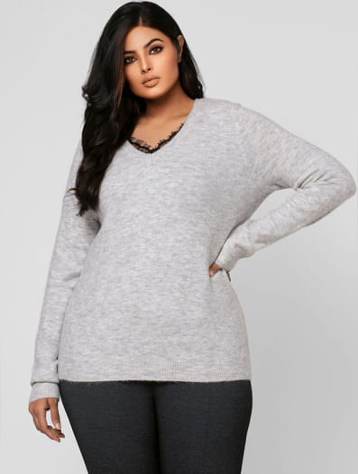Light Grey Lace Detail Sweater