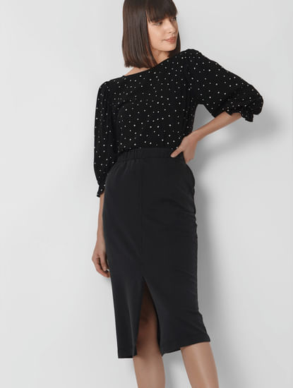Black Polka Dot Top