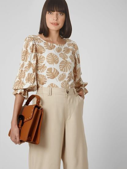 Beige All Over Print Top