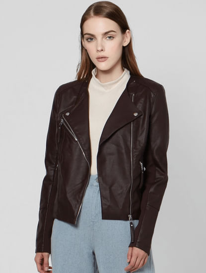Chocolate Plum Biker Jacket