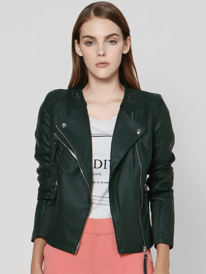 Dark Green Biker Jacket