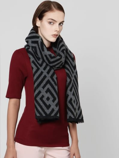 Grey All Over Print Scarf
