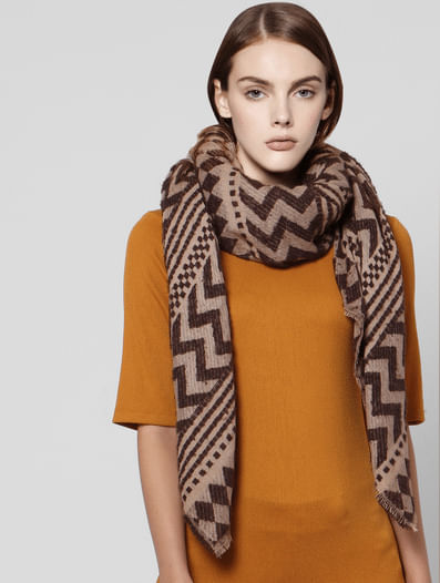 Beige All Over Print Scarf