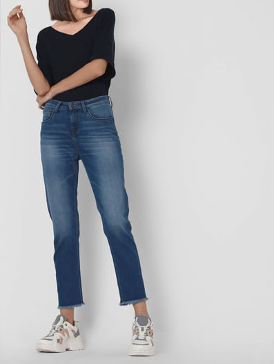 Blue Mid Rise Girlfriend Jeans