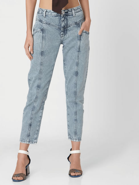 Light Blue Mid Rise Acid Wash Mom Jeans