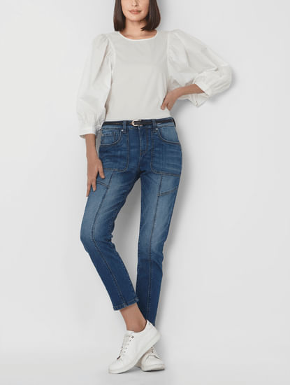 Blue Mid Rise Patch Pocket Girlfriend Jeans